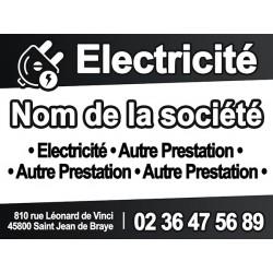 Panneau de chantier ELECTRICIEN noir